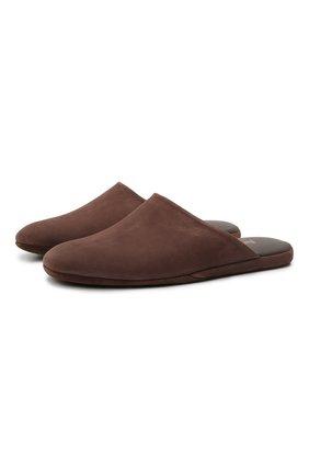 Мужского кожаные домашние туфли FARFALLA коричневого цвета, арт. CMP0RMAB | Фото 1 (Материал внутренний: Натуральная кожа; Мужское Кросс-КТ: тапочки-обувь)