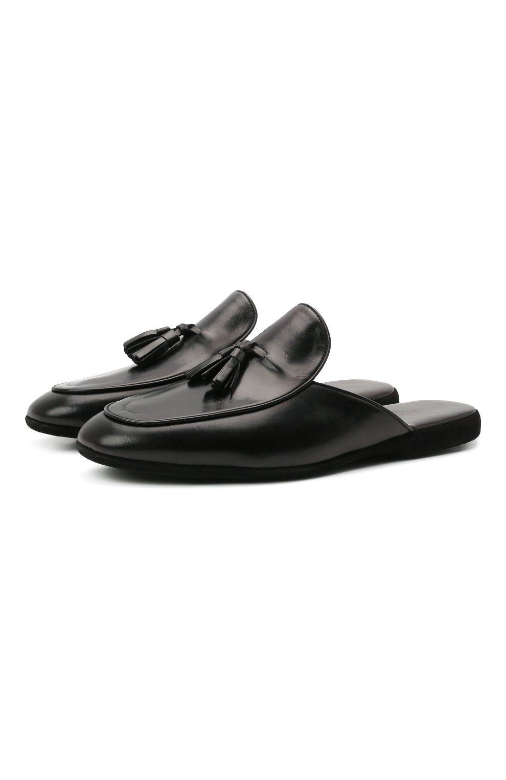 Мужского кожаные домашние туфли FARFALLA черного цвета, арт. G61N | Фото 1 (Материал внутренний: Натуральная кожа; Мужское Кросс-КТ: тапочки-обувь)