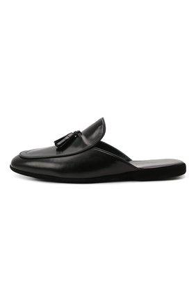 Мужского кожаные домашние туфли FARFALLA черного цвета, арт. G61N | Фото 3 (Материал внутренний: Натуральная кожа; Мужское Кросс-КТ: тапочки-обувь)