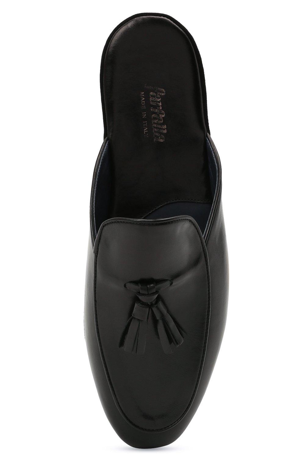 Мужского кожаные домашние туфли FARFALLA черного цвета, арт. G61N | Фото 5 (Материал внутренний: Натуральная кожа; Мужское Кросс-КТ: тапочки-обувь)