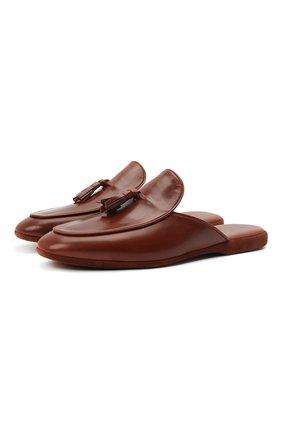 Мужского кожаные домашние туфли FARFALLA коричневого цвета, арт. G61N | Фото 1 (Материал внутренний: Натуральная кожа; Мужское Кросс-КТ: тапочки-обувь)
