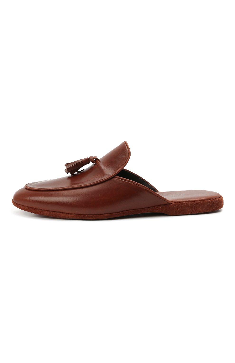 Мужского кожаные домашние туфли FARFALLA коричневого цвета, арт. G61N | Фото 3 (Материал внутренний: Натуральная кожа; Мужское Кросс-КТ: тапочки-обувь)