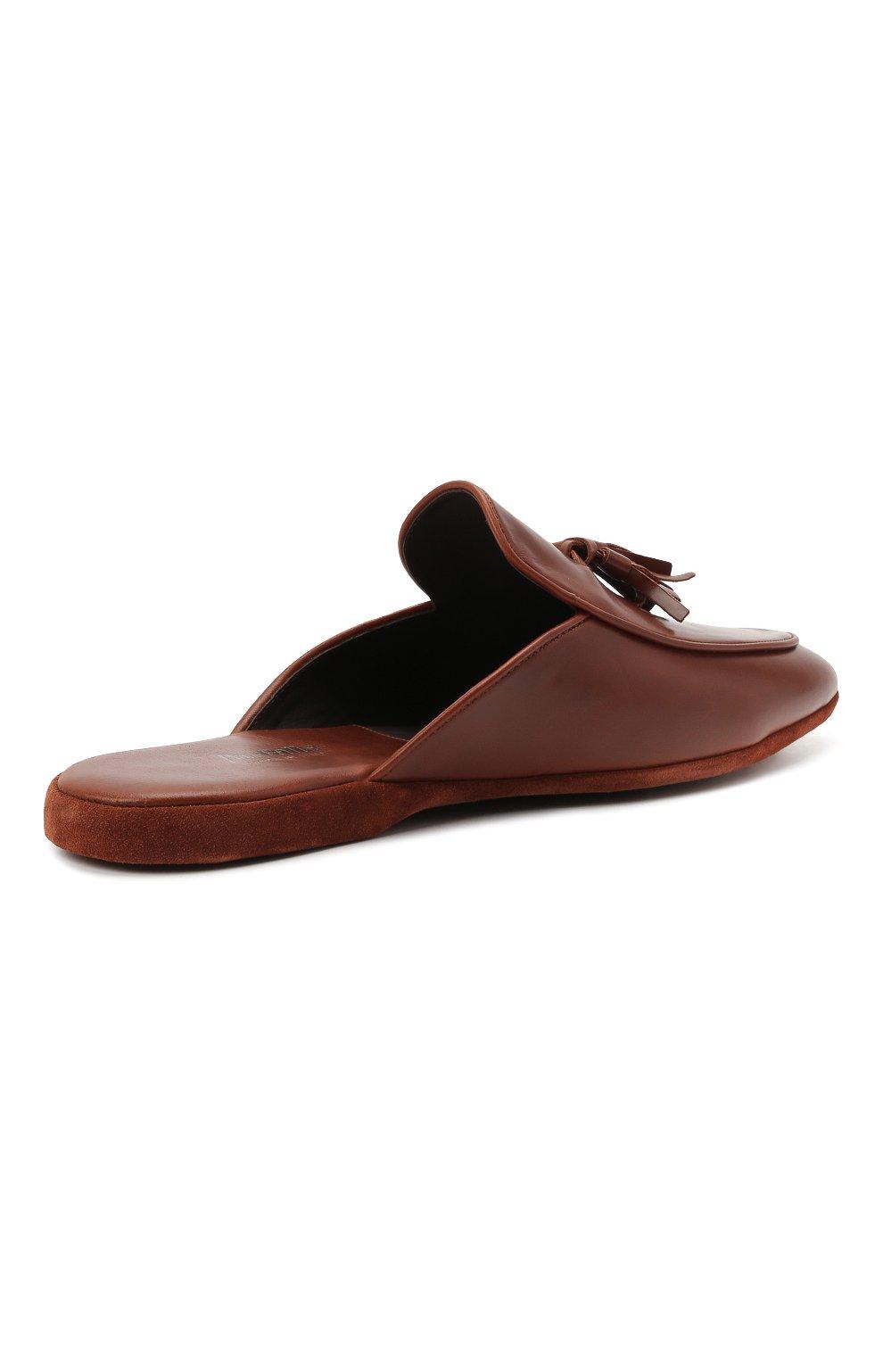 Мужского кожаные домашние туфли FARFALLA коричневого цвета, арт. G61N | Фото 4 (Материал внутренний: Натуральная кожа; Мужское Кросс-КТ: тапочки-обувь)