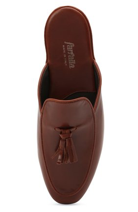 Мужского кожаные домашние туфли FARFALLA коричневого цвета, арт. G61N | Фото 5 (Материал внутренний: Натуральная кожа; Мужское Кросс-КТ: тапочки-обувь)