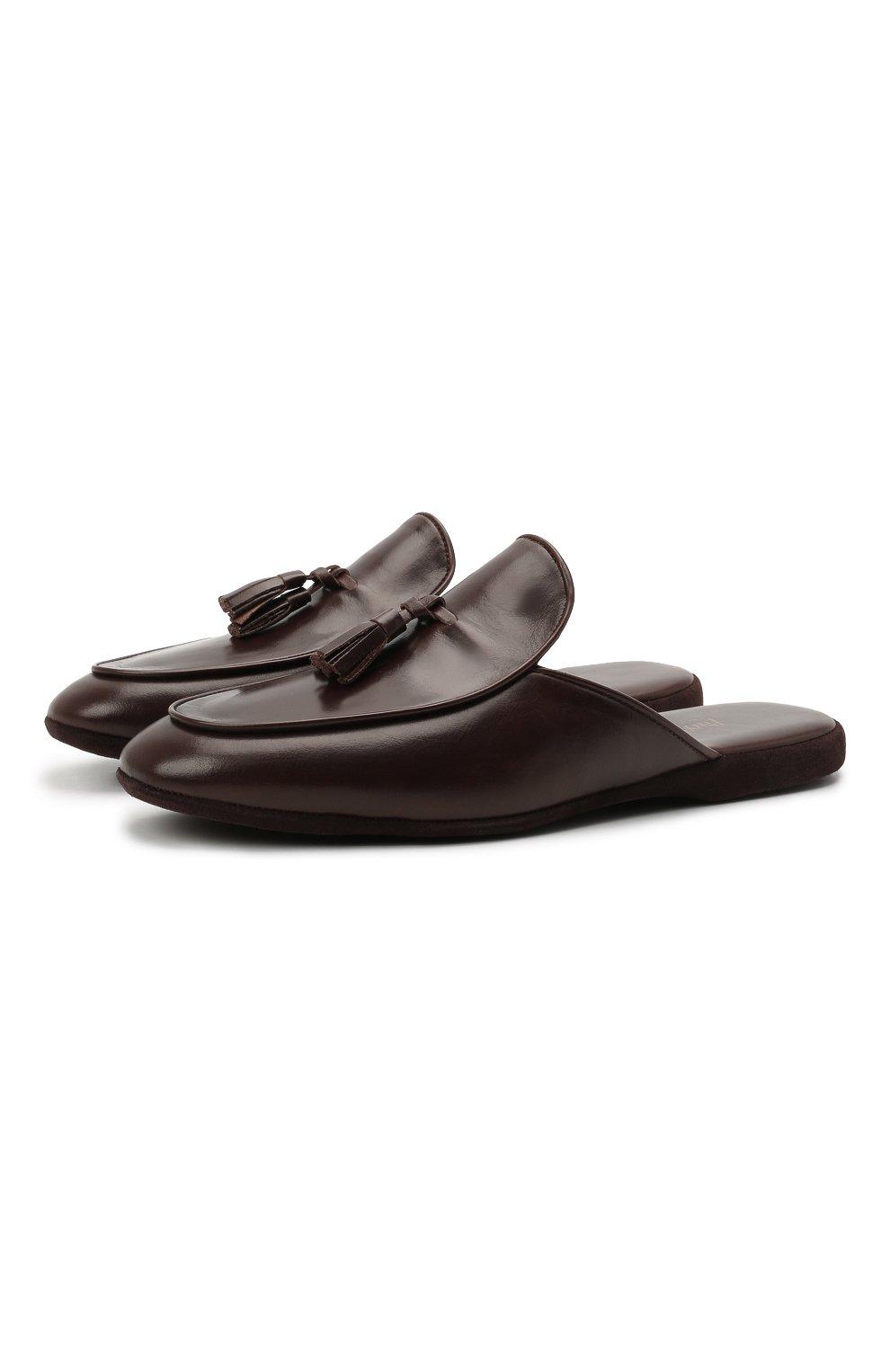 Мужского кожаные домашние туфли FARFALLA темно-коричневого цвета, арт. G61N   Фото 1 (Материал внутренний: Натуральная кожа; Мужское Кросс-КТ: тапочки-обувь)