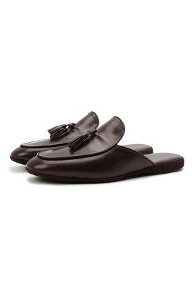 Мужского кожаные домашние туфли FARFALLA темно-коричневого цвета, арт. G61N | Фото 1 (Материал внутренний: Натуральная кожа; Мужское Кросс-КТ: тапочки-обувь)