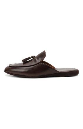 Мужского кожаные домашние туфли FARFALLA темно-коричневого цвета, арт. G61N   Фото 3 (Материал внутренний: Натуральная кожа; Мужское Кросс-КТ: тапочки-обувь)