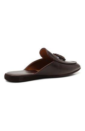 Мужского кожаные домашние туфли FARFALLA темно-коричневого цвета, арт. G61N   Фото 4 (Материал внутренний: Натуральная кожа; Мужское Кросс-КТ: тапочки-обувь)
