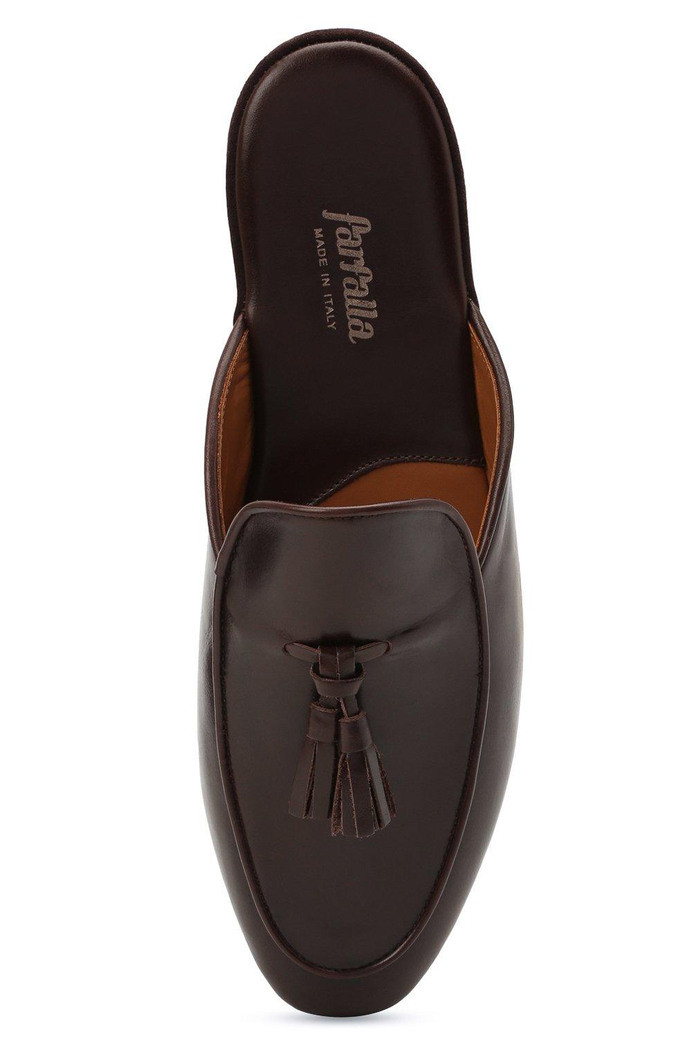 Мужского кожаные домашние туфли FARFALLA темно-коричневого цвета, арт. G61N   Фото 5 (Материал внутренний: Натуральная кожа; Мужское Кросс-КТ: тапочки-обувь)