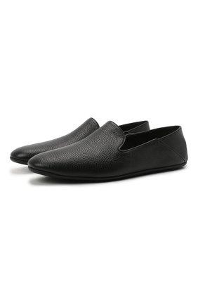 Мужского кожаные домашние туфли FARFALLA черного цвета, арт. GC5 | Фото 1 (Материал внутренний: Натуральная кожа; Мужское Кросс-КТ: Слиперы-обувь)