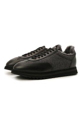 Мужские комбинированные кроссовки DOUCAL'S темно-серого цвета, арт. DU2880WINNPM4672N00 | Фото 1 (Материал внешний: Текстиль; Материал утеплителя: Натуральный мех; Подошва: Массивная; Стили: Классический)