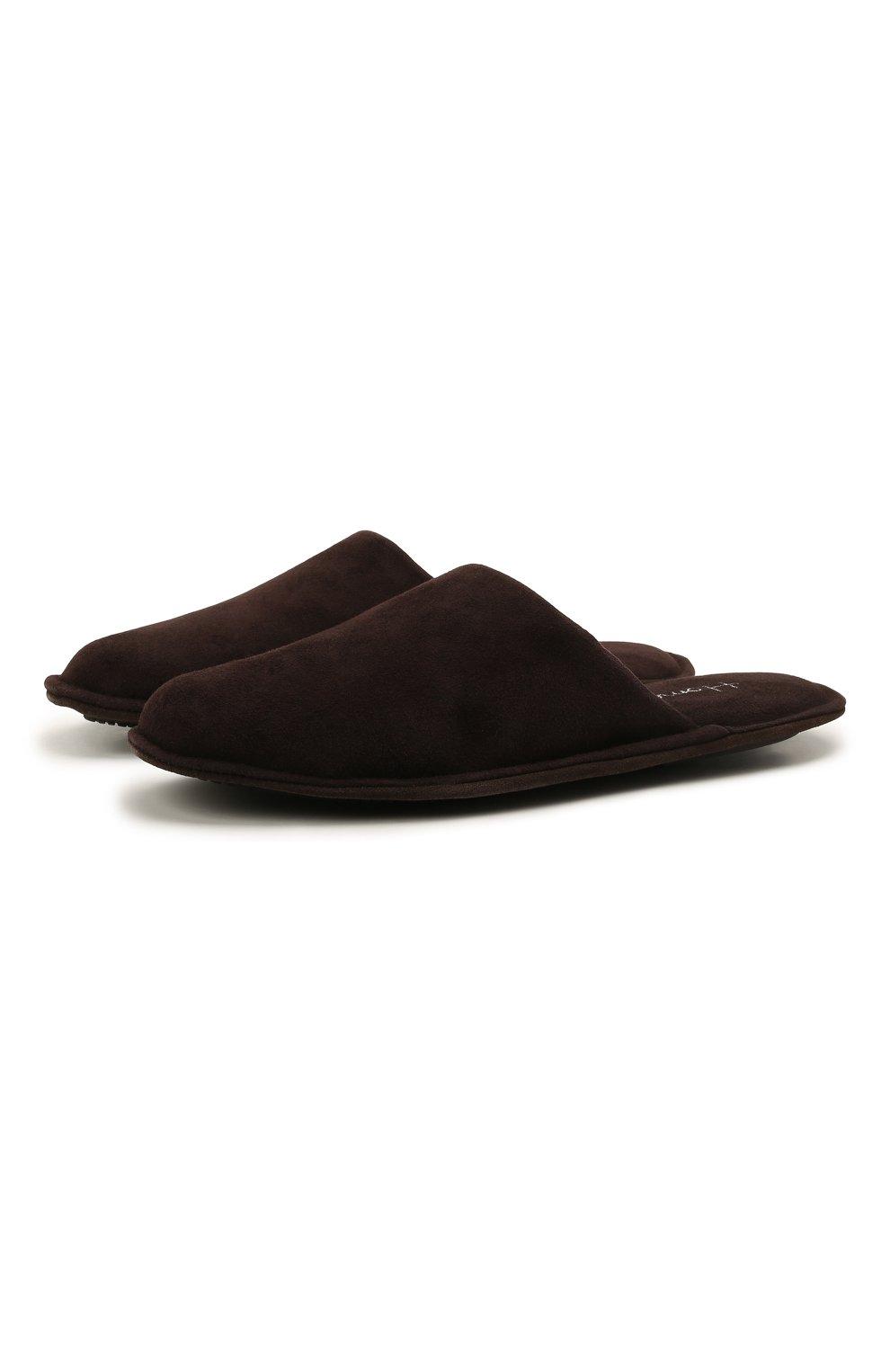 Мужского замшевые домашние туфли HOMERS AT HOME темно-коричневого цвета, арт. 12045/ANTE | Фото 1 (Материал внутренний: Натуральная кожа; Материал внешний: Замша; Мужское Кросс-КТ: тапочки-обувь)