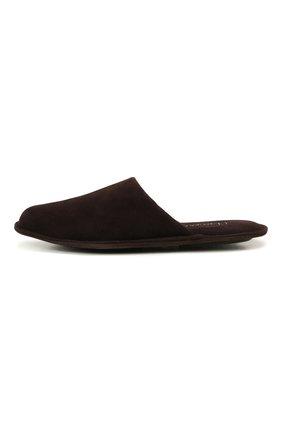 Мужского замшевые домашние туфли HOMERS AT HOME темно-коричневого цвета, арт. 12045/ANTE | Фото 3 (Материал внутренний: Натуральная кожа; Материал внешний: Замша; Мужское Кросс-КТ: тапочки-обувь)