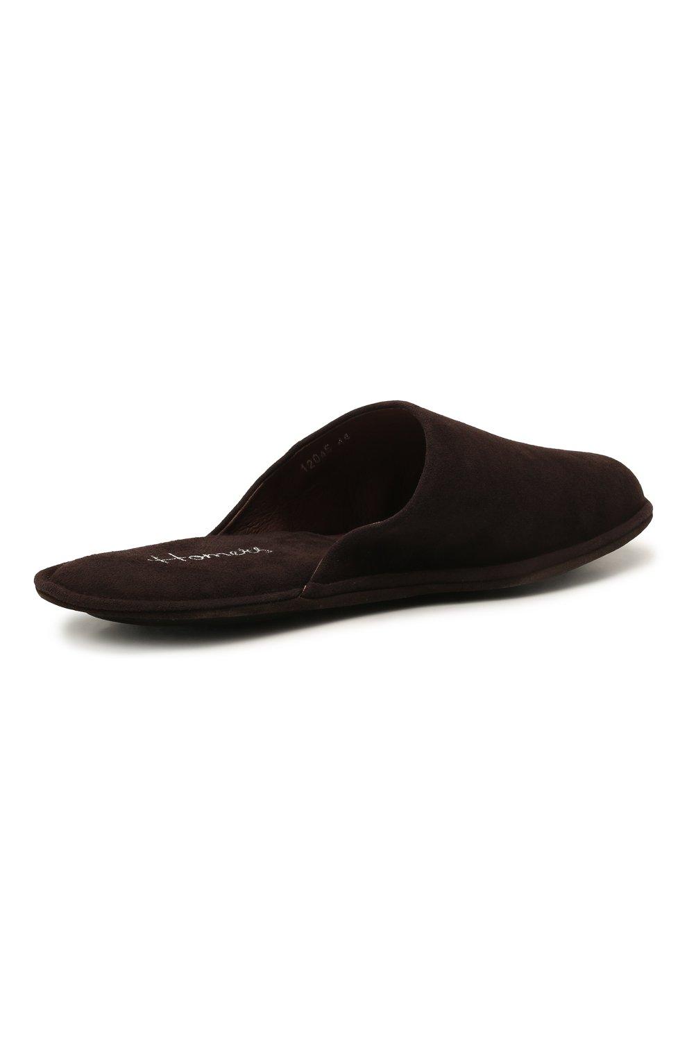 Мужского замшевые домашние туфли HOMERS AT HOME темно-коричневого цвета, арт. 12045/ANTE | Фото 4 (Материал внутренний: Натуральная кожа; Материал внешний: Замша; Мужское Кросс-КТ: тапочки-обувь)