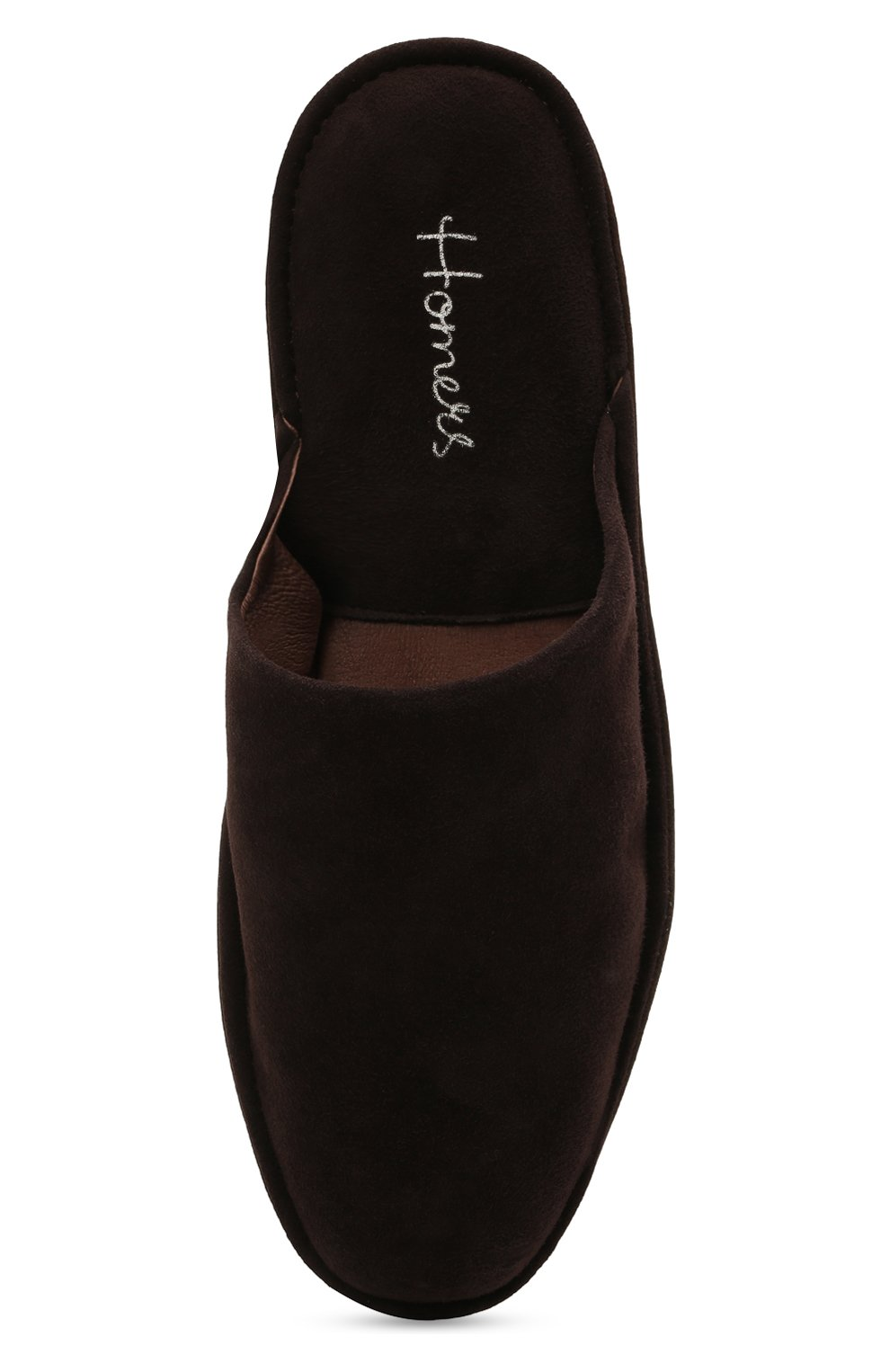 Мужского замшевые домашние туфли HOMERS AT HOME темно-коричневого цвета, арт. 12045/ANTE | Фото 5 (Материал внутренний: Натуральная кожа; Материал внешний: Замша; Мужское Кросс-КТ: тапочки-обувь)