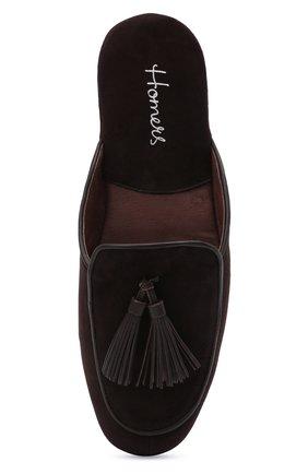 Мужского замшевые домашние туфли HOMERS AT HOME темно-коричневого цвета, арт. 17789/ANTE | Фото 5 (Материал внутренний: Натуральная кожа; Материал внешний: Замша; Мужское Кросс-КТ: тапочки-обувь)