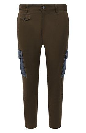 Мужские хлопковые брюки-карго DOLCE & GABBANA хаки цвета, арт. GWTUEZ/GEM25 | Фото 1 (Материал внешний: Хлопок; Длина (брюки, джинсы): Стандартные; Случай: Повседневный; Силуэт М (брюки): Карго; Стили: Милитари)