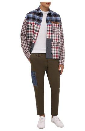 Мужские хлопковые брюки-карго DOLCE & GABBANA хаки цвета, арт. GWTUEZ/GEM25 | Фото 2 (Материал внешний: Хлопок; Длина (брюки, джинсы): Стандартные; Случай: Повседневный; Силуэт М (брюки): Карго; Стили: Милитари)