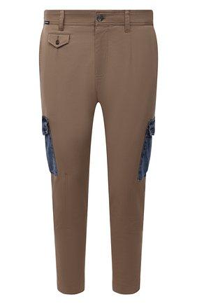 Мужские хлопковые брюки-карго DOLCE & GABBANA бежевого цвета, арт. GWTUEZ/GEM25 | Фото 1 (Длина (брюки, джинсы): Стандартные; Материал внешний: Хлопок; Случай: Повседневный; Силуэт М (брюки): Карго; Стили: Кэжуэл)