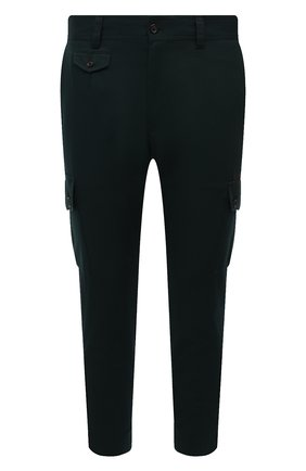 Мужские хлопковые брюки-карго DOLCE & GABBANA темно-зеленого цвета, арт. GWR2AT/GET77   Фото 1 (Материал внешний: Хлопок; Длина (брюки, джинсы): Стандартные; Случай: Повседневный; Силуэт М (брюки): Карго; Стили: Кэжуэл)