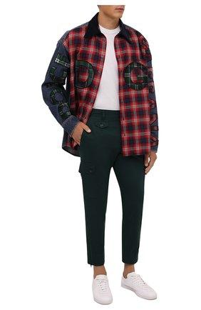 Мужские хлопковые брюки-карго DOLCE & GABBANA темно-зеленого цвета, арт. GWR2AT/GET77   Фото 2 (Материал внешний: Хлопок; Длина (брюки, джинсы): Стандартные; Случай: Повседневный; Силуэт М (брюки): Карго; Стили: Кэжуэл)