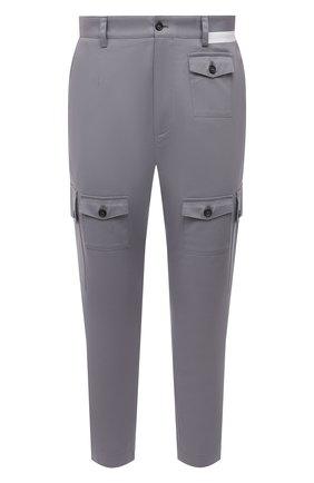 Мужские хлопковые брюки-карго DOLCE & GABBANA серого цвета, арт. GWPCHT/GEU81   Фото 1 (Материал внешний: Хлопок; Длина (брюки, джинсы): Укороченные; Случай: Повседневный; Силуэт М (брюки): Карго; Стили: Кэжуэл)