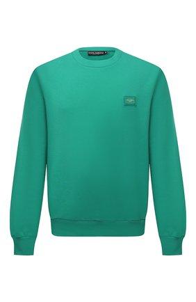 Мужской хлопковый свитшот DOLCE & GABBANA зеленого цвета, арт. G9PD3T/FU7DU   Фото 1 (Материал внешний: Хлопок; Мужское Кросс-КТ: свитшот-одежда; Принт: Без принта; Стили: Спорт-шик; Длина (для топов): Стандартные; Рукава: Длинные)