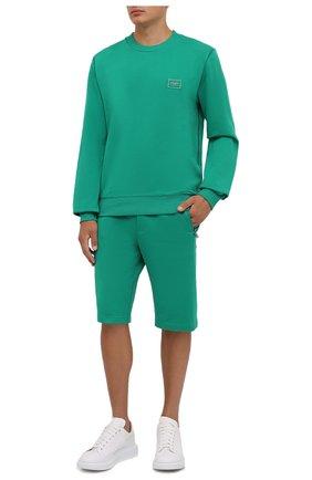 Мужской хлопковый свитшот DOLCE & GABBANA зеленого цвета, арт. G9PD3T/FU7DU   Фото 2 (Материал внешний: Хлопок; Мужское Кросс-КТ: свитшот-одежда; Принт: Без принта; Стили: Спорт-шик; Длина (для топов): Стандартные; Рукава: Длинные)