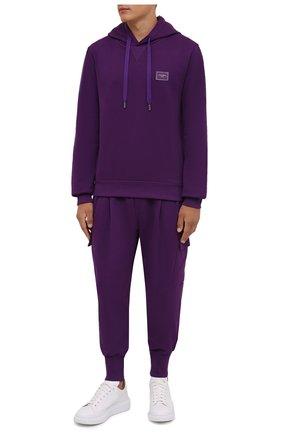 Мужской хлопковое худи DOLCE & GABBANA фиолетового цвета, арт. G90V2T/FU7DU | Фото 2 (Длина (для топов): Стандартные; Материал внешний: Хлопок; Рукава: Длинные; Мужское Кросс-КТ: Худи-одежда; Принт: Без принта; Стили: Спорт-шик)