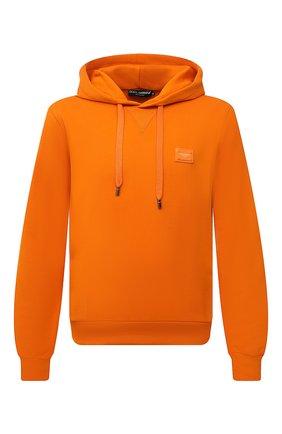 Мужской хлопковое худи DOLCE & GABBANA оранжевого цвета, арт. G90V2T/FU7DU | Фото 1 (Материал внешний: Хлопок; Рукава: Длинные; Длина (для топов): Стандартные; Мужское Кросс-КТ: Худи-одежда; Принт: Без принта; Стили: Спорт-шик)