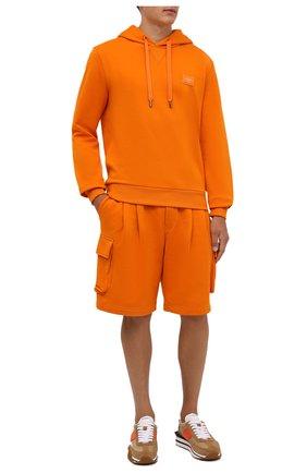 Мужской хлопковое худи DOLCE & GABBANA оранжевого цвета, арт. G90V2T/FU7DU | Фото 2 (Материал внешний: Хлопок; Рукава: Длинные; Длина (для топов): Стандартные; Мужское Кросс-КТ: Худи-одежда; Принт: Без принта; Стили: Спорт-шик)