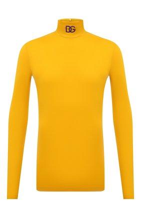 Мужской хлопковая водолазка DOLCE & GABBANA желтого цвета, арт. G8NE7Z/FU7EQ | Фото 1 (Материал внешний: Хлопок; Длина (для топов): Удлиненные; Рукава: Длинные; Мужское Кросс-КТ: Водолазка-одежда; Принт: Без принта; Стили: Кэжуэл)