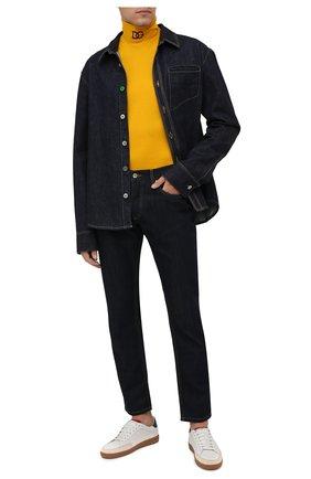 Мужской хлопковая водолазка DOLCE & GABBANA желтого цвета, арт. G8NE7Z/FU7EQ | Фото 2 (Материал внешний: Хлопок; Длина (для топов): Удлиненные; Рукава: Длинные; Мужское Кросс-КТ: Водолазка-одежда; Принт: Без принта; Стили: Кэжуэл)