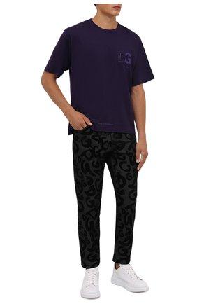 Мужская хлопковая футболка DOLCE & GABBANA фиолетового цвета, арт. G8NB3Z/FU7EQ   Фото 2 (Материал внешний: Хлопок; Рукава: Короткие; Принт: Без принта; Стили: Спорт-шик; Длина (для топов): Стандартные)