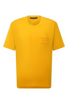 Мужская хлопковая футболка DOLCE & GABBANA желтого цвета, арт. G8NB3Z/FU7EQ | Фото 1 (Материал внешний: Хлопок; Рукава: Короткие; Принт: Без принта; Стили: Спорт-шик; Длина (для топов): Стандартные)
