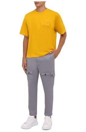 Мужская хлопковая футболка DOLCE & GABBANA желтого цвета, арт. G8NB3Z/FU7EQ | Фото 2 (Материал внешний: Хлопок; Рукава: Короткие; Принт: Без принта; Стили: Спорт-шик; Длина (для топов): Стандартные)