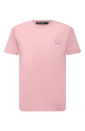 Мужская хлопковая футболка DOLCE & GABBANA светло-розового цвета, арт. G8KJ9T/FU7EQ | Фото 1