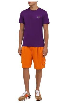 Мужская хлопковая футболка DOLCE & GABBANA фиолетового цвета, арт. G8KJ9T/FU7EQ   Фото 2 (Материал внешний: Хлопок; Рукава: Короткие; Принт: Без принта; Стили: Спорт-шик; Длина (для топов): Стандартные)