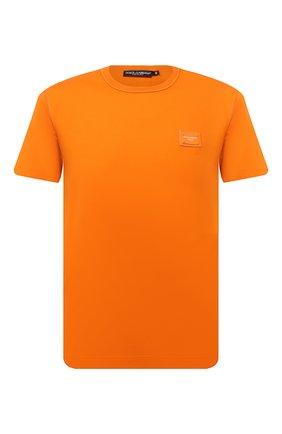 Мужская хлопковая футболка DOLCE & GABBANA оранжевого цвета, арт. G8KJ9T/FU7EQ | Фото 1 (Материал внешний: Хлопок; Рукава: Короткие; Принт: Без принта; Стили: Спорт-шик; Длина (для топов): Стандартные)