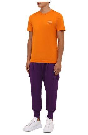 Мужская хлопковая футболка DOLCE & GABBANA оранжевого цвета, арт. G8KJ9T/FU7EQ | Фото 2 (Материал внешний: Хлопок; Рукава: Короткие; Принт: Без принта; Стили: Спорт-шик; Длина (для топов): Стандартные)