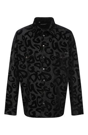 Мужская джинсовая рубашка DOLCE & GABBANA серого цвета, арт. G5IH1D/G8EK4 | Фото 1 (Материал внешний: Хлопок; Длина (для топов): Стандартные; Рукава: Длинные; Случай: Повседневный; Кросс-КТ: Деним; Воротник: Кент; Манжеты: На кнопках; Принт: С принтом; Стили: Кэжуэл)