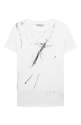 Детская хлопковая футболка GIVENCHY белого цвета, арт. H25301 | Фото 1