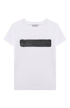 Детская хлопковая футболка GIVENCHY белого цвета, арт. H25283 | Фото 1
