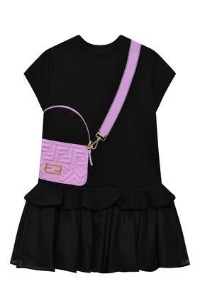 Детское хлопковое платье FENDI черного цвета, арт. JFB382/AG3Z/3A-6A | Фото 1