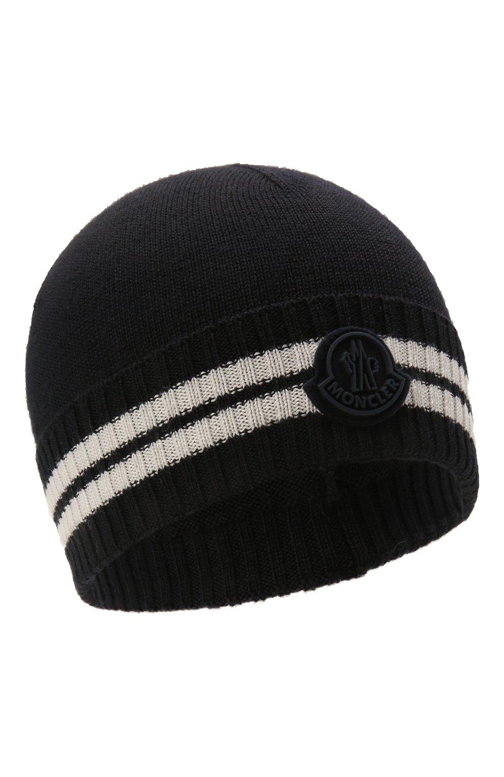 Детского шапка MONCLER темно-синего цвета, арт. G2-954-9Z734-20-A9630   Фото 1 (Материал: Текстиль, Шерсть, Синтетический материал)