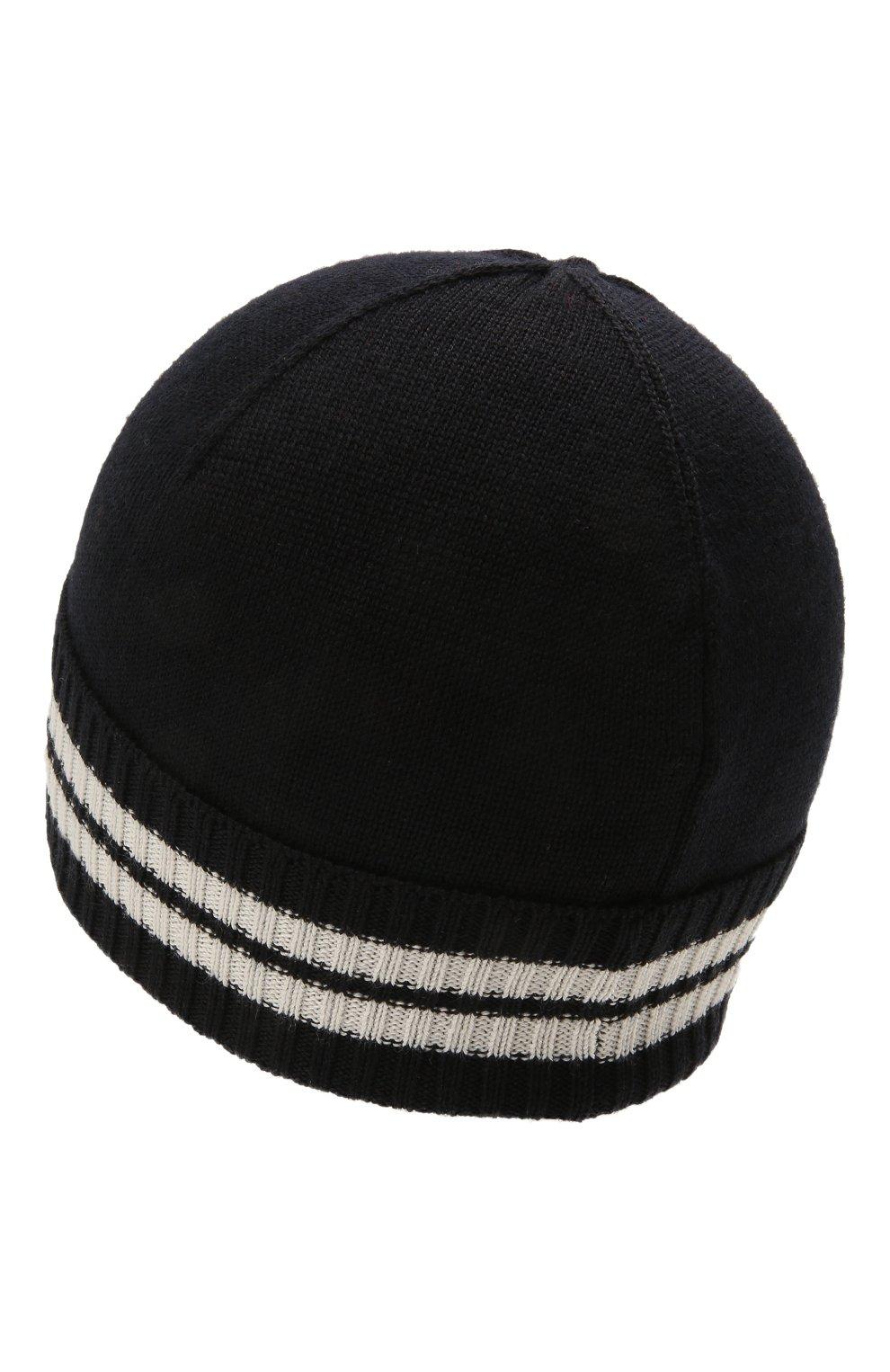 Детского шапка MONCLER темно-синего цвета, арт. G2-954-9Z734-20-A9630   Фото 2 (Материал: Текстиль, Шерсть, Синтетический материал)