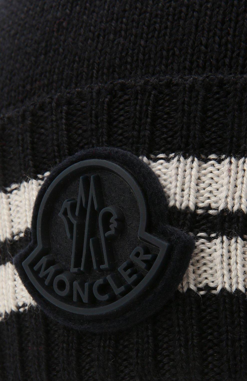 Детского шапка MONCLER темно-синего цвета, арт. G2-954-9Z734-20-A9630   Фото 3 (Материал: Текстиль, Шерсть, Синтетический материал)