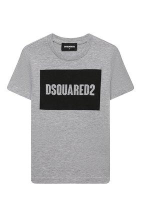 Детская хлопковая футболка DSQUARED2 серого цвета, арт. DQ0522-D00YV | Фото 1