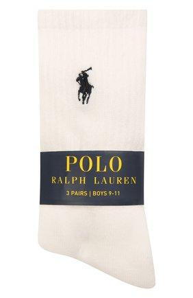 Детские комплект из трех пар носков POLO RALPH LAUREN белого цвета, арт. 444822825 | Фото 1