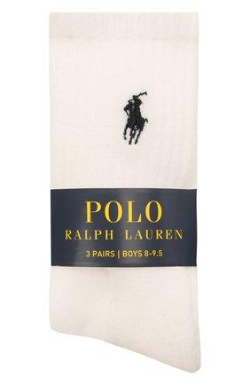 Детские комплект из трех пар носков POLO RALPH LAUREN белого цвета, арт. 444822163 | Фото 1